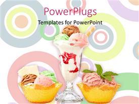 Amazing PPT theme consisting of three delicious multi flavor ice cream glasses