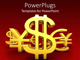 Amazing PPT theme consisting of three dimensional gold currency signs on red background