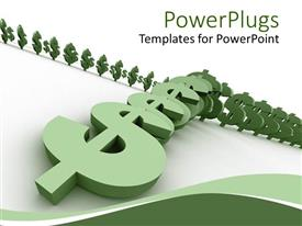 Colorful PPT layouts having three dimensional green dollar signs arranged like falling dominoes