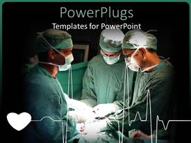 Elegant theme enhanced with three doctors performing surgery on a patient with beating heart ad cardiogram heart line in hospital setting and black background