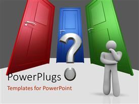 Elegant PPT layouts enhanced with three doors of different colors and 3D man beside question mark symbol