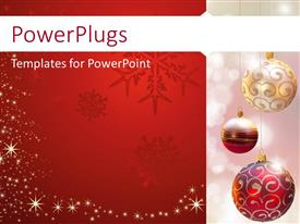 Slide deck with three glistering Christmas ornaments with decorations on a red and white background