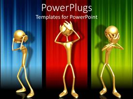 Elegant PPT theme enhanced with three gold colored depiction of human figures on a colorful background