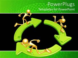 Amazing slide set consisting of three gold figures running on green arrows arranged in circle