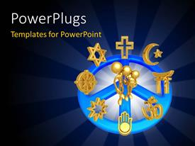 PPT layouts enhanced with three golden 3D characters with lots religious symbols around