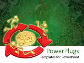 Colorful presentation theme having three golden characters running on arrows around a dollar sign