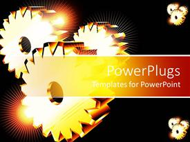 PPT theme consisting of three golden gears with spark of light glowing on black background