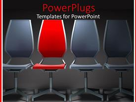 Amazing slide set consisting of three gray chairs with red chair in the middle with gray background