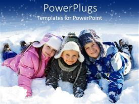 PPT theme having three kids lying down on snow