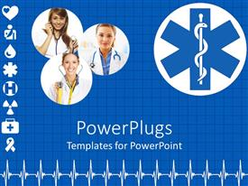 Slide deck having three lady doctors, different signs of medical background and heart beat pattern on blue background