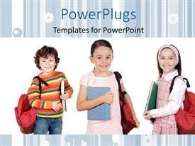 Colorful presentation theme having three little kids with backpacks dressed for school on white background