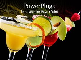 PPT theme enhanced with three Margaritas, apple, orange and raspberry in black background