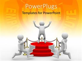 Presentation theme consisting of three people with orange background and place for text