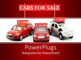 Colorful PPT layouts having three red and white cars with price tags on them