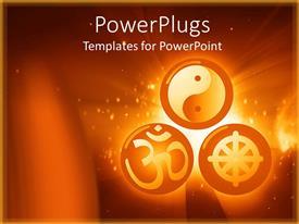 Beautiful presentation theme with three round orange balls with chinese symbols inside them