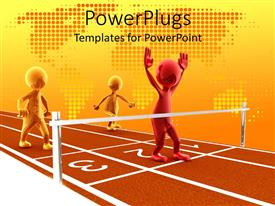 Audience pleasing PPT layouts featuring three shinny human figures close to the finish line on a race track