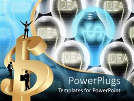 Audience pleasing PPT theme featuring three silhouettes of business man on 3D golden dollar sign with idea light bulbs on background