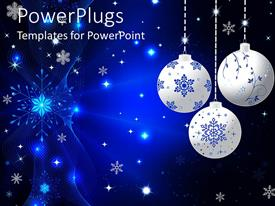 Amazing presentation theme consisting of three silver colored christmas ornaments on a blue background