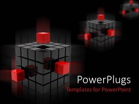 PPT theme consisting of three silvery black cubes with three red cubes on black background