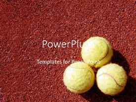 PPT layouts with three tennis balls arranged on red grainy background