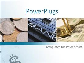 Presentation design featuring three tiles with some coins, some dollar bills and a bank