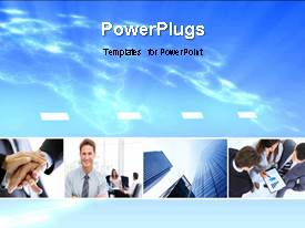 Presentation theme enhanced with three tiles with some images over a clear sky background