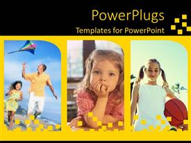 PPT layouts with three tiles of little girls and one with an adult