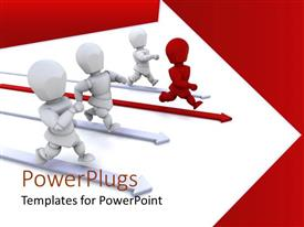 Elegant PPT theme enhanced with three white 3D human characters running with a leading red one