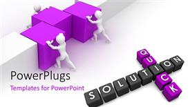 Presentation theme featuring three white figures pushing together purple blocks, quick solution
