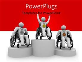 PPT theme enhanced with three white figures in wheelchairs with first, second, and third place medals