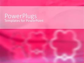 Elegant PPT theme enhanced with three white floral patters on a blurry pink background