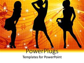 5000 dance powerpoint templates w dance themed backgrounds presentation theme with three women dancer silhouettes against yellow and red ray background toneelgroepblik Gallery