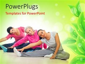 Presentation theme featuring three women exercising to keep fit with green leaves in background