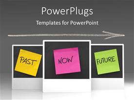 Elegant presentation theme enhanced with time concept, with colorful sticky notes of past , present , future with blackboard