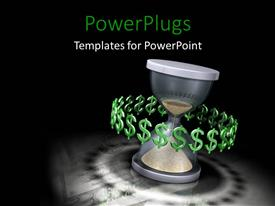 PPT theme consisting of time is money hourglass black background metaphor profit salary income