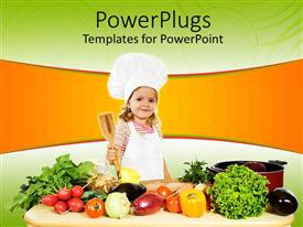 Beautiful slide set with tiny girl chef holding wooden cooking spoon surrounded by vegetables
