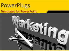 Slide set featuring a large 3D text that spells out the word :marketing