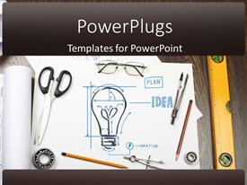 PPT layouts consisting of tools and papers on the table with industrial symbols