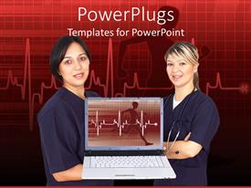 PPT theme enhanced with tow female doctors with a presentation on a laptop