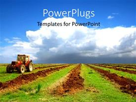 Agriculture powerpoint templates ppt themes with agriculture amazing ppt theme consisting of a tractor in a field with clouds in the background template size toneelgroepblik