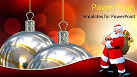 Slides enhanced with two large Christmas ornaments with Santa clause beside them