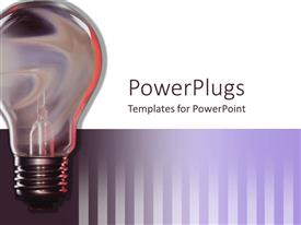 Audience pleasing PPT theme featuring traditional light bulb on white and purple striped background