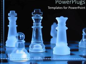 Elegant PPT theme enhanced with transparent blue pieces on a chess board on a black background