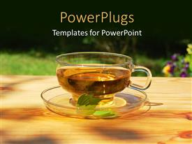 PPT layouts consisting of transparent cup of tea and saucer with leaf and flowers in background