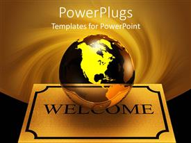 Slide deck with transparent glass earth / globes on brown colored welcome mat