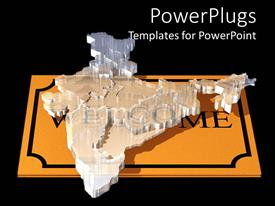 Amazing PPT theme consisting of a transparent glass map of India on a gold slab