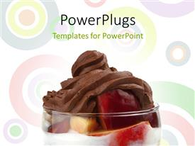 PPT layouts consisting of transparent glass with red apple and chocolate on abstract background with circles