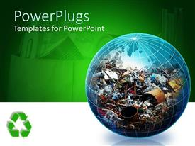 PPT theme enhanced with transparent globe filled with recyclable trash on green background with recycle logo