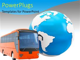 Beautiful PPT theme with travel concept with a red bus along with a 3D globe