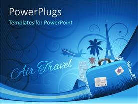 Colorful PPT theme having travel depiction with abstract floral background and travel luggage